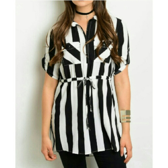 d1a9f7dd91d Black White Striped Tunic Dress